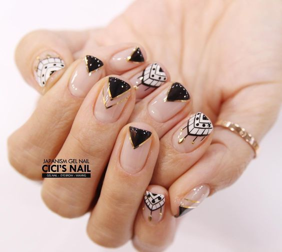 nail art with a geometric pattern 2017