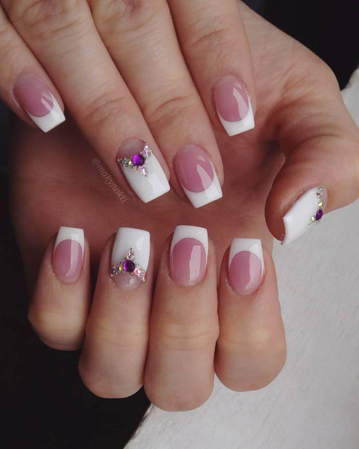 френч с рисунком на квадратных ногтях фото
