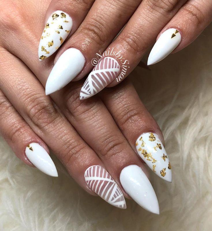 Белый френч-139 фото идей дизайна ногтей 21