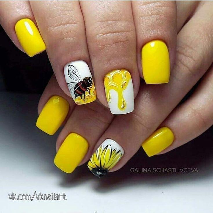 40+ фото жёлтый маникюр