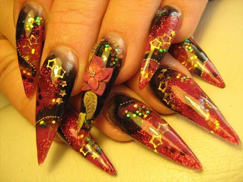 аквариумный дизайн ногтей длинный гламурный aquarium nail design