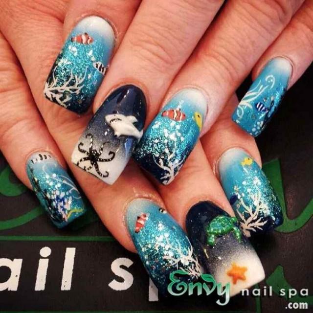 аквариумный дизайн ногтей море рыбки aquarium nail design