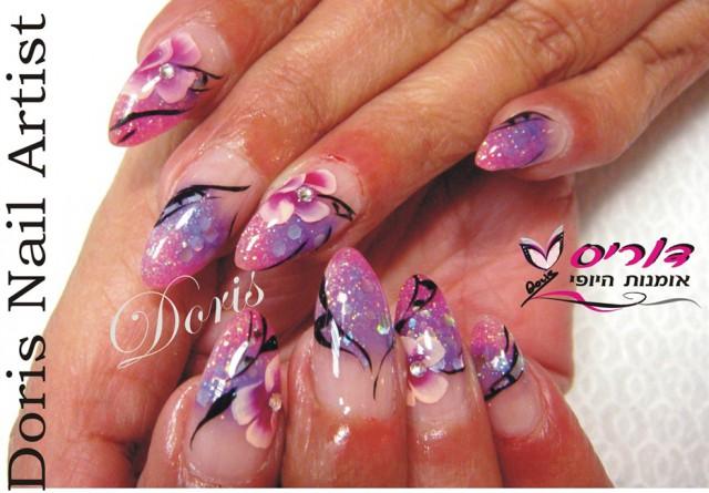аквариумный дизайн ногтей розовый со стразами aquarium nail design