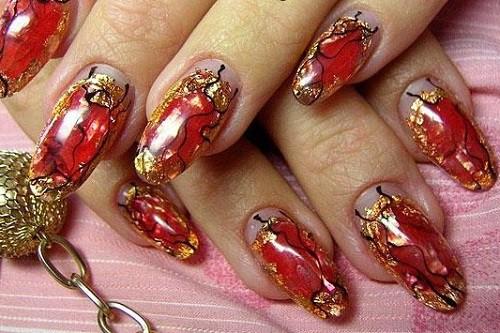 аквариумный дизайн ногтей золотисто красный aquarium nail design