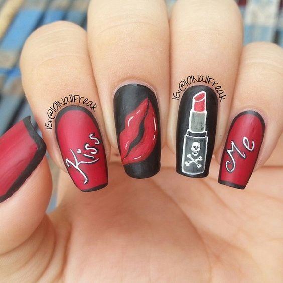 Дизайн губы на ногтях фото