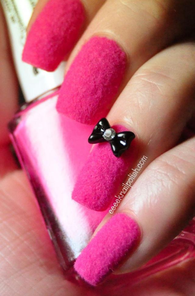 beautiful nail design fuchsia velvety texture