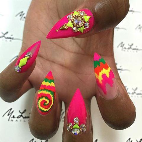 beautiful nail design fuchsia rhinestones