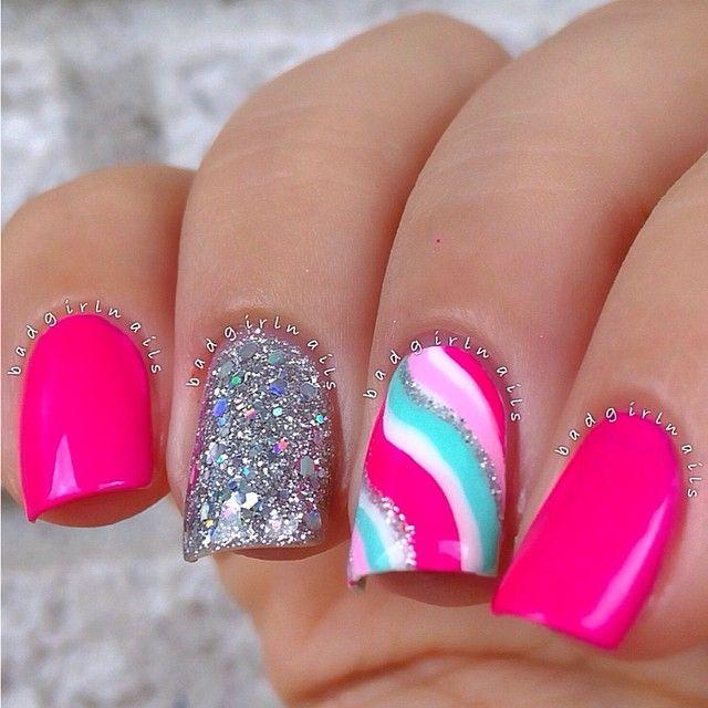 beautiful nail design fuchsia tinsel