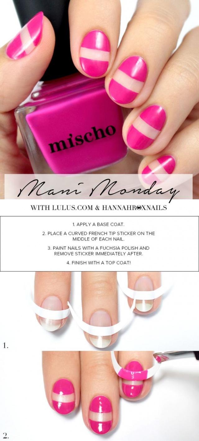 beautiful nail design fuchsia gel polish mischo