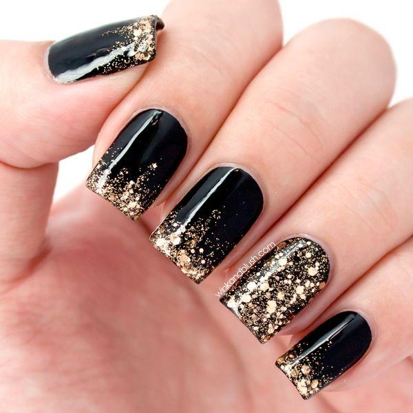 Дизайн ногтей в черно-золотом цвете