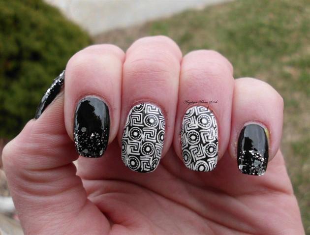 чёрно белый дизайн ногтей геометрические фигуры