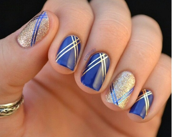 синий дизайн ногтей золото unusual blue nail design