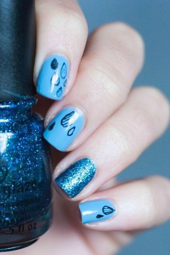 синий дизайн ногтей капли дождя unusual blue nail design