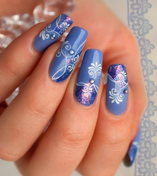 синий дизайн ногтей наращенные ногти unusual blue nail design