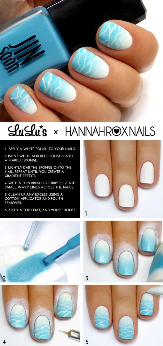синий дизайн ногтей морская вода пошаговое изображение unusual blue nail design