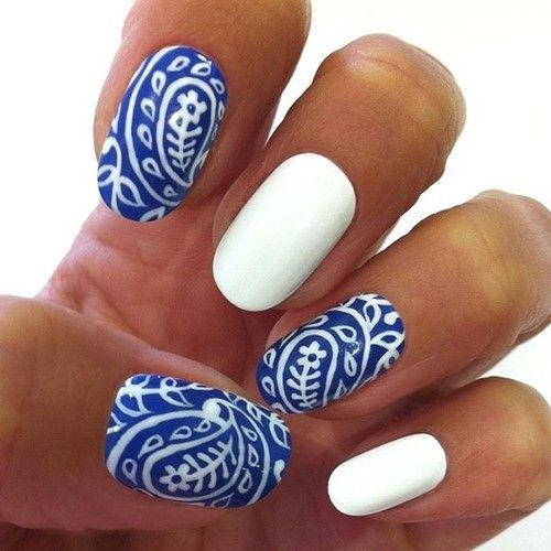 синий дизайн ногтей роспись unusual blue nail design