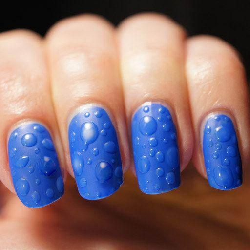синий дизайн ногтей капли дождя unusual nail design