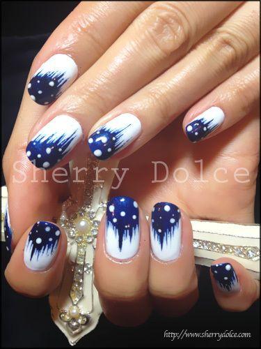 синий дизайн ногтей абстракция unusual blue nail design