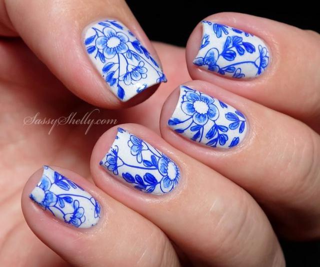синий дизайн ногтей роспись цветы unusual blue nail design
