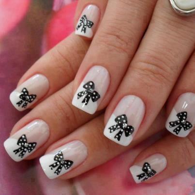 дизайн ногтей бантики чёрно белый nails patterned bow