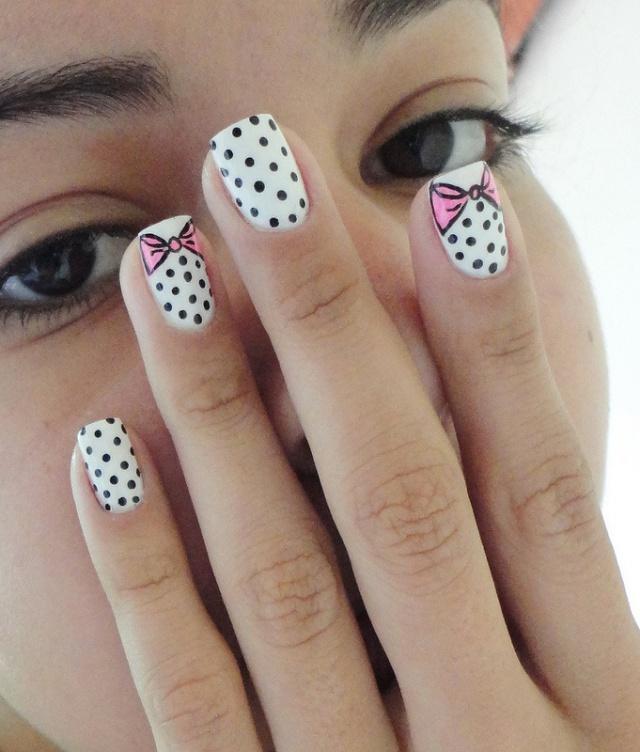 дизайн ногтей бантики розовый горошек nails patterned bow