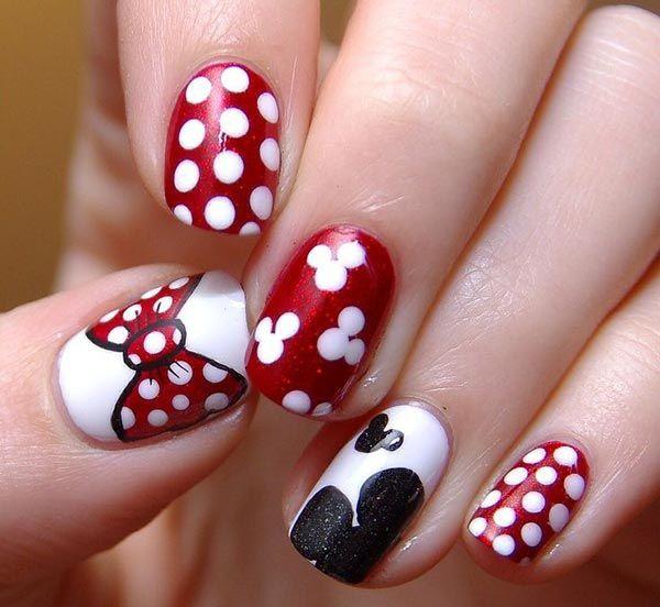 дизайн ногтей бантики микки маус nails patterned bow