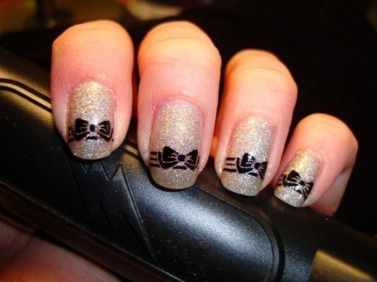 дизайн ногтей бантики блестяшки nails patterned bow