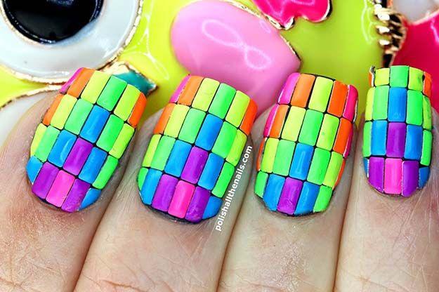 creative new ideas manicure новинки креативного маникюра разноцветные объёмные прямоугольники