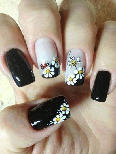 дизайн ногтей ромашка пчёлка nail design with a picture of chamomile