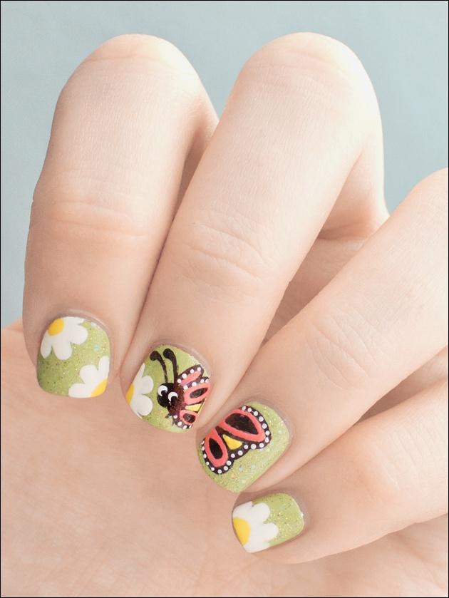 дизайн ногтей ромашка бабочка nail design with a picture of chamomile