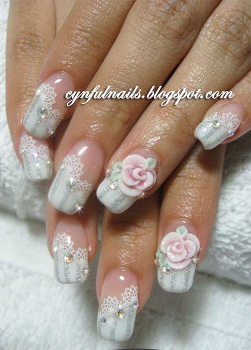 дизайн акриловых ногтей 2015 роза белая