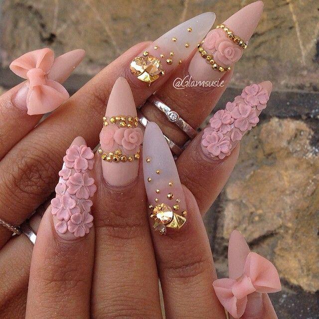 дизайн акриловых ногтей 2015 бледно-розовый