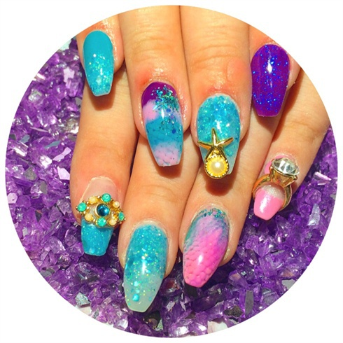 дизайн акриловых ногтей 2015 аквариумный