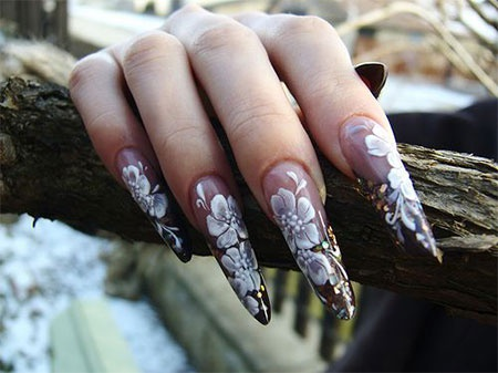 дизайн акриловых ногтей 2015 длинные белые