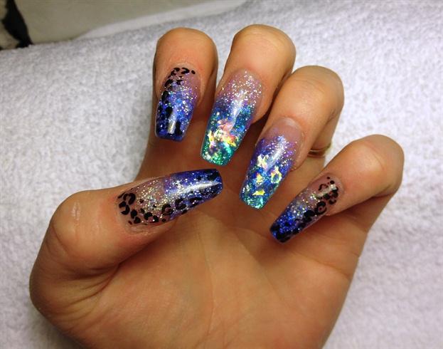 дизайн акриловых ногтей 2015 блёстки