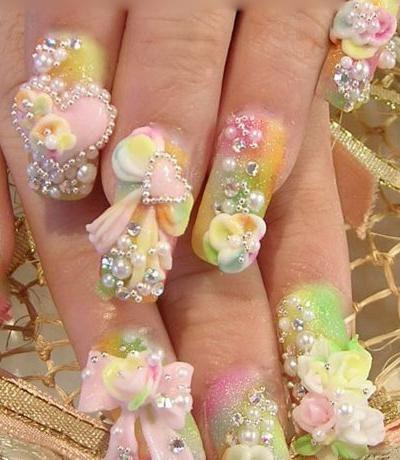 дизайн акриловых ногтей 2015 свадебный объёмный