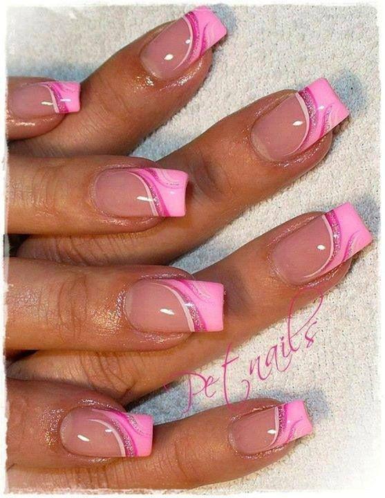 дизайн акриловых ногтей 2015 розовый
