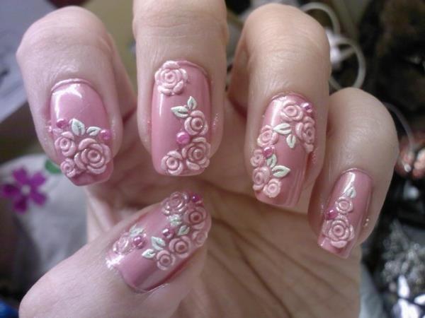 дизайн акриловых ногтей 2015 розочки
