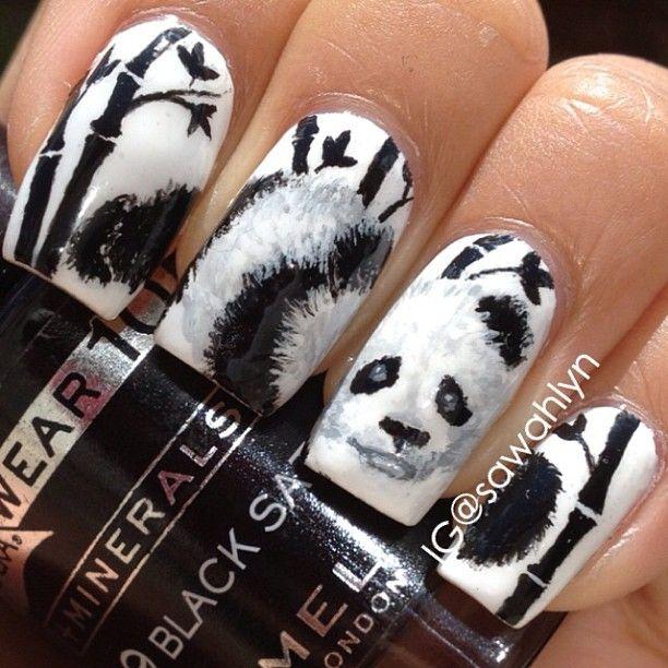 дизайн ногтей животные чёрно белый панда