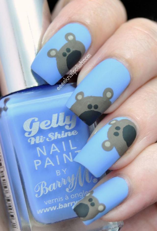 дизайн ногтей животные медведь
