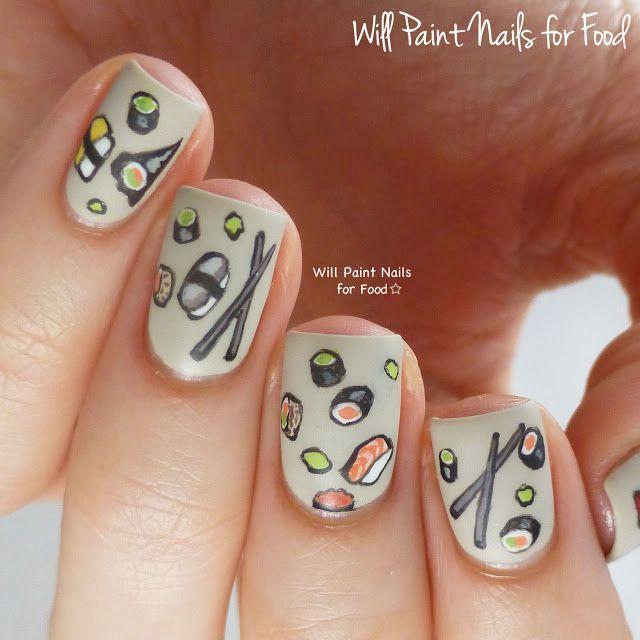 design nail anime анимешный дизайн ногтей  суши
