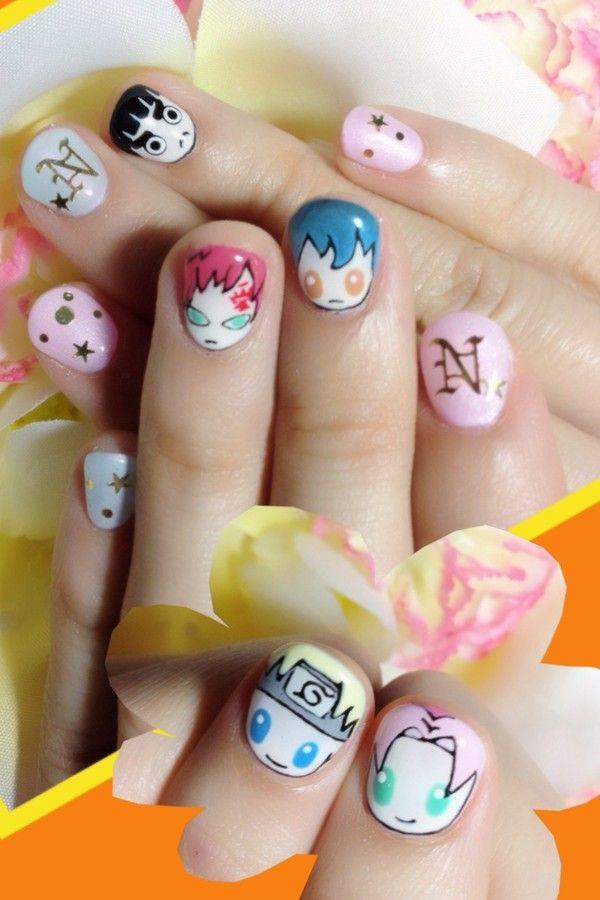 design nail anime анимешный дизайн ногтей  наруто