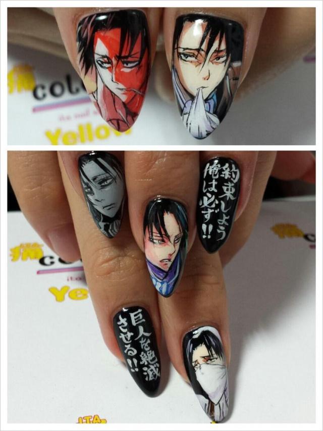 design nail anime анимешный дизайн ногтей  ногти с иероглифами