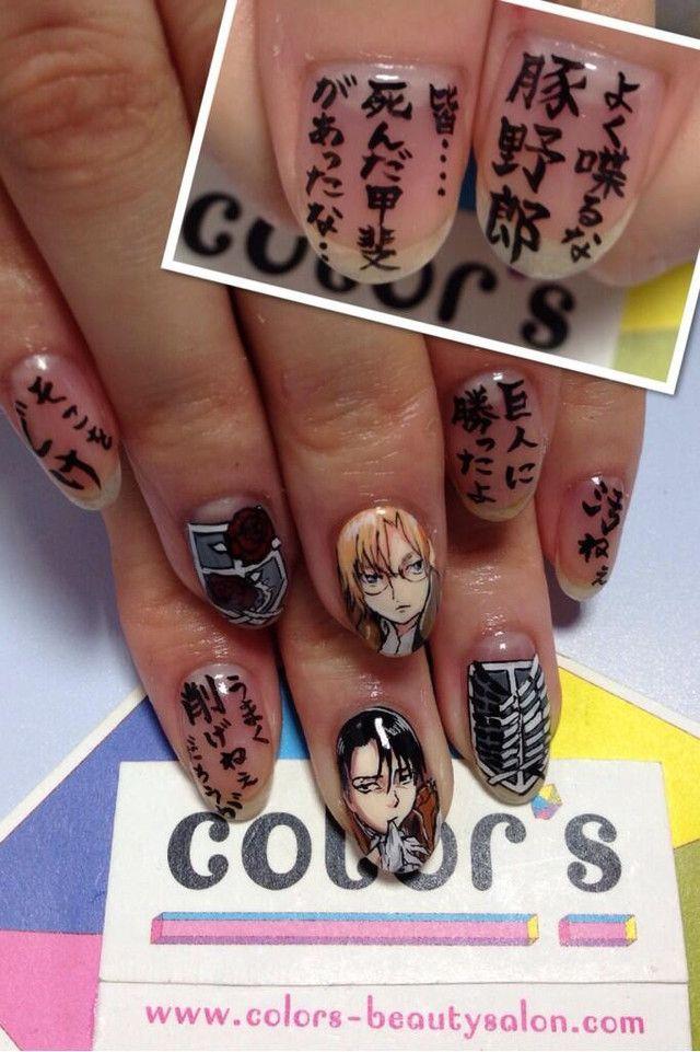 design nail anime анимешный дизайн ногтей  иероглифы парень