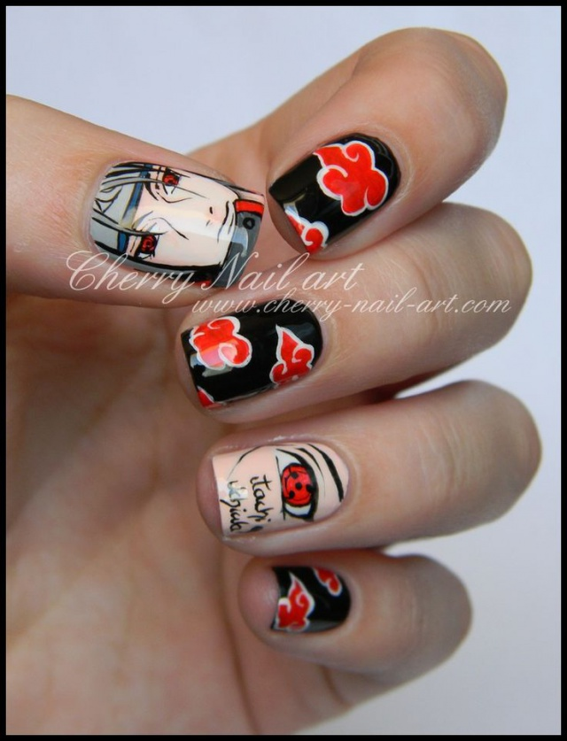 design nail anime анимешный дизайн ногтей  итачи