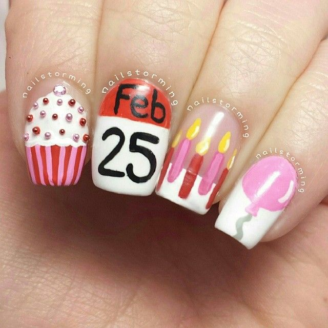 Маникюр на день рождения на короткие ногти