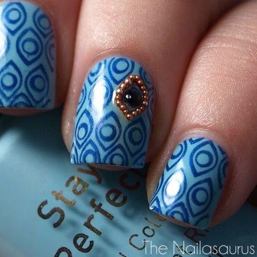 дизайн ногтей бульонки шарики синий Nail Design bulbs