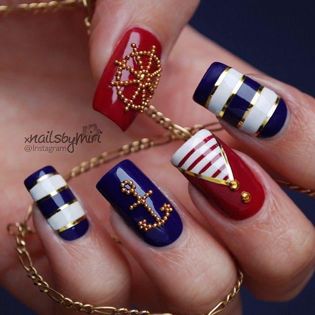 Ногти дизайн морской стиль