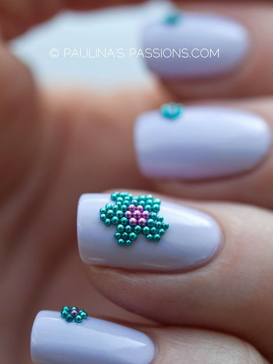 дизайн ногтей бульонки шарики цветок Nail Design bulbs