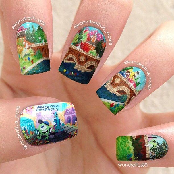 Мультяшные рисунки на ногтях
